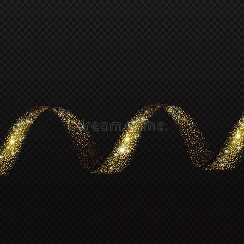 Élément brillant de scintillement éclatant d'hélice de traînée de spirale d'or Vecteur illustration libre de droits