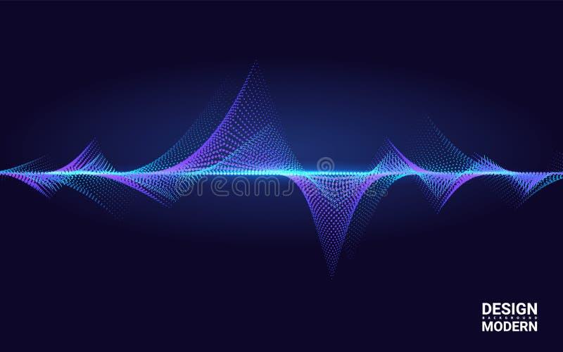 Élément coloré abstrait de vague pour la conception de musique avec l'égaliseur La ligne dynamique sur un fond foncé Grandes donn illustration libre de droits