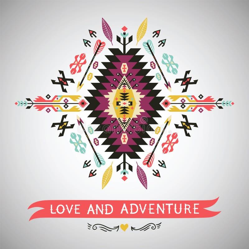 Élément coloré décoratif dans le style aztèque illustration de vecteur