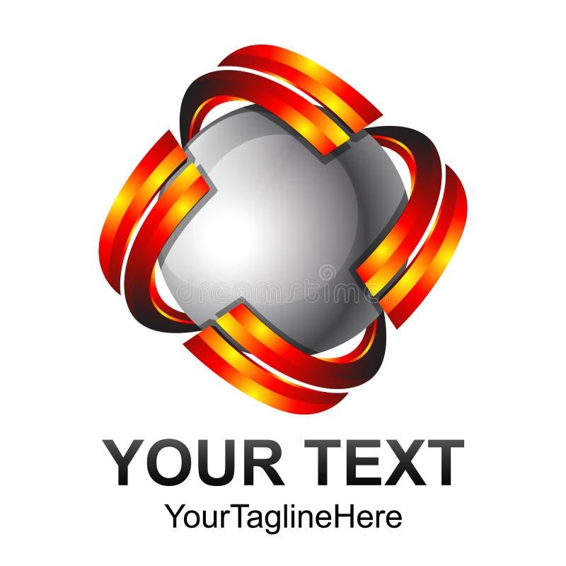 Élément créatif de calibre de conception de logo de vecteur de sphère du résumé 3d illustration stock