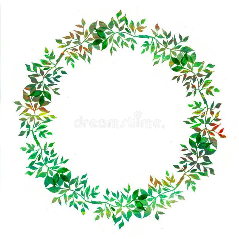 Élément créatif pour la conception Guirlande peinte à la main vibrante d'aquarelle des feuilles vertes cadre de fines herbes abst illustration de vecteur