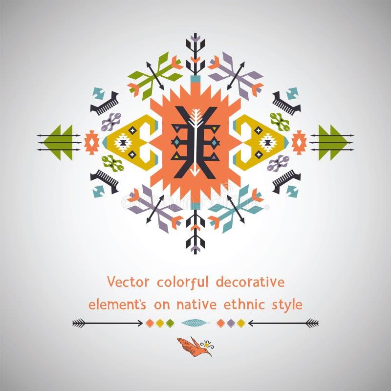 Élément décoratif coloré de vecteur sur l'indigène illustration de vecteur