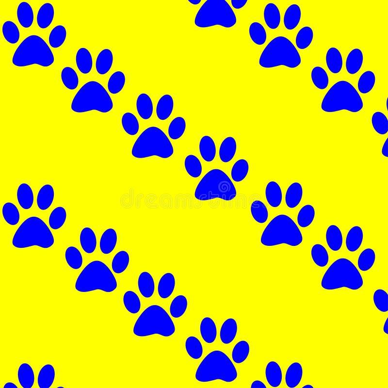 Élément décoratif d'abrégé sur pattes de chat de fond jaune bleu de texture mignon illustration libre de droits