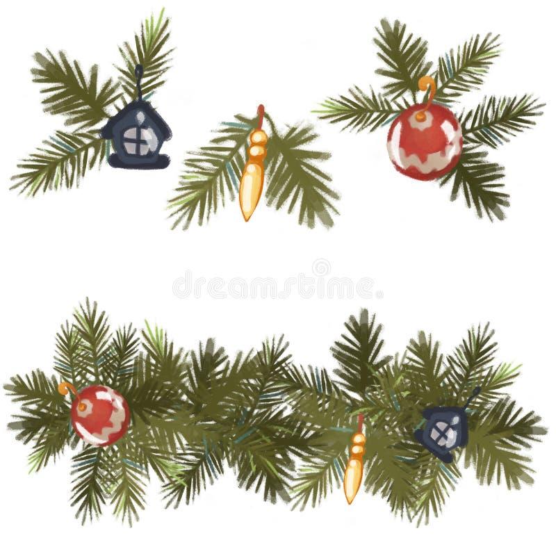 Élément décoratif de conception de Noël les décorations de Noël de fond ont isolé le blanc d'arbre D'isolement sur le fond blanc  illustration libre de droits