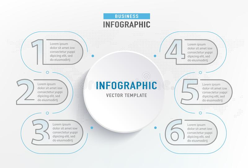 Élément d'étape d'Infograph 6 Diagramme de diagramme graphique de cercle, conception de graphique de gestion Illustration de vect illustration libre de droits