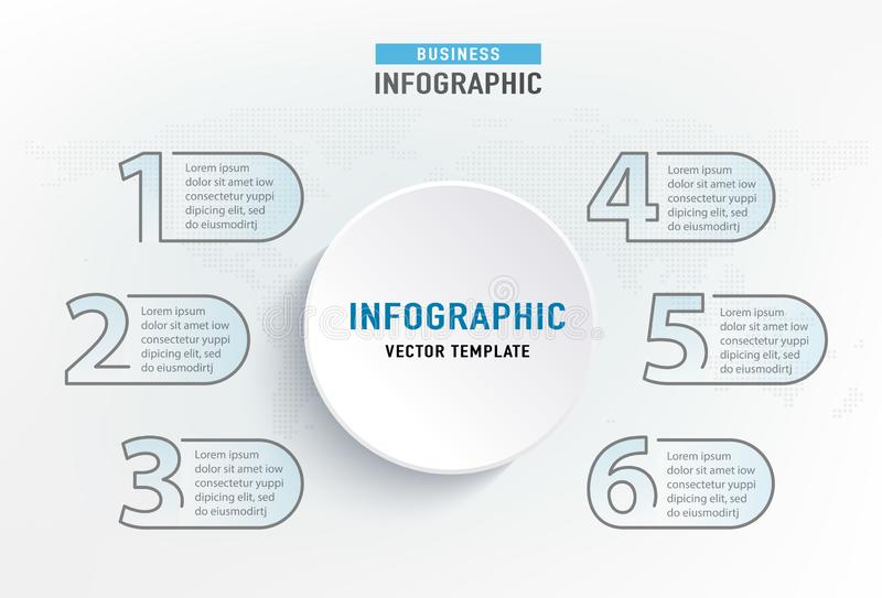 Élément d'étape d'Infograph 6 Diagramme de diagramme graphique de cercle, conception de graphique de gestion Illustration de vect illustration stock