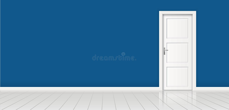 Élément d'architecture - dirigez le mur de bleu marine de fond et la porte blanche fermée illustration libre de droits