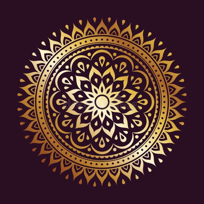 Élément d'or de décoration de mandala de gradient illustration stock