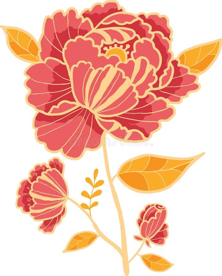 Élément d'or et rouge de conception de fleur illustration libre de droits