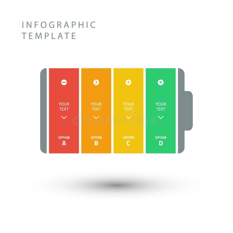 Élément de batterie de vecteur pour infographic illustration stock