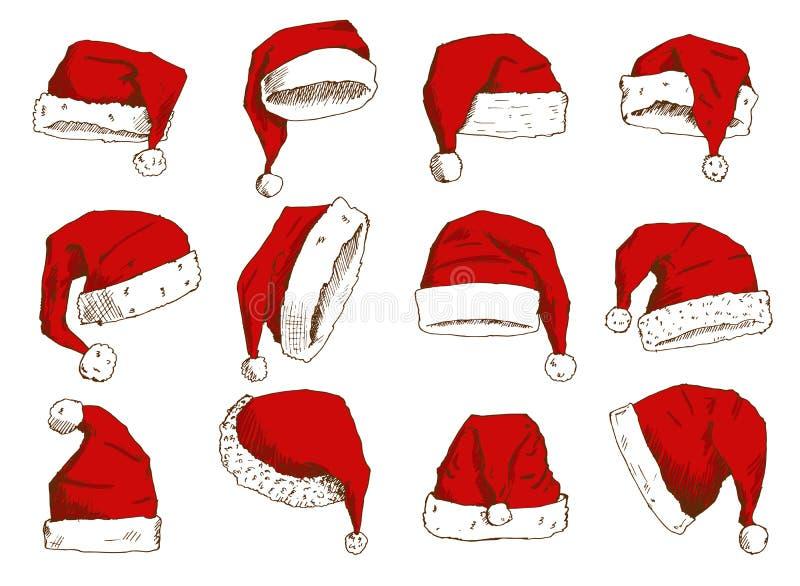 Élément de chapeau de décoration de conception de partie de Noël de chrétiens d'isolement par noel de nouvelle année d'illustrati illustration libre de droits