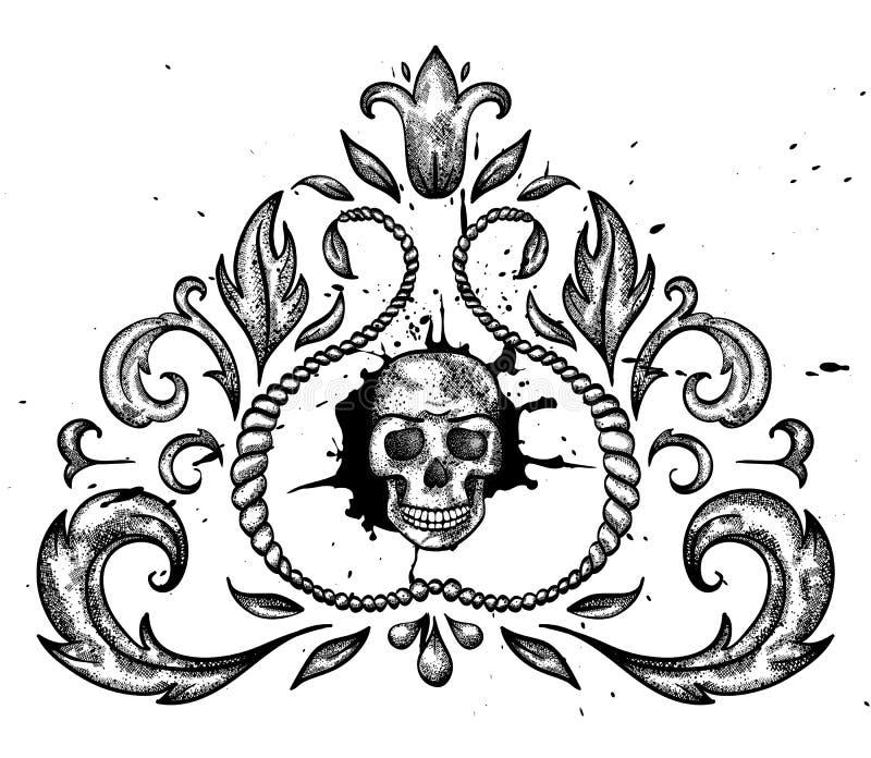 Élément de conception avec le crâne et les lames. illustration de vecteur