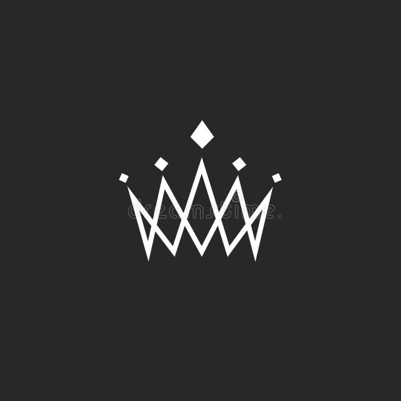 Élément de conception de couronne, logo d'abrégé sur monogramme, ligne mince icône royale, emblème d'hôtel de calibre illustration de vecteur