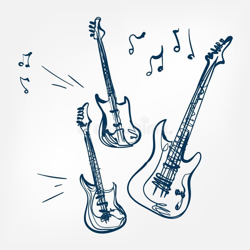 Élément de conception d'isolement par illustration de vecteur de croquis d'ensemble de guitare électrique illustration libre de droits
