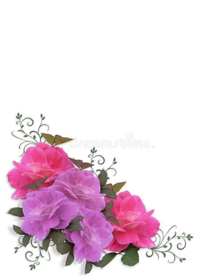 Élément de conception de coin de roses illustration stock