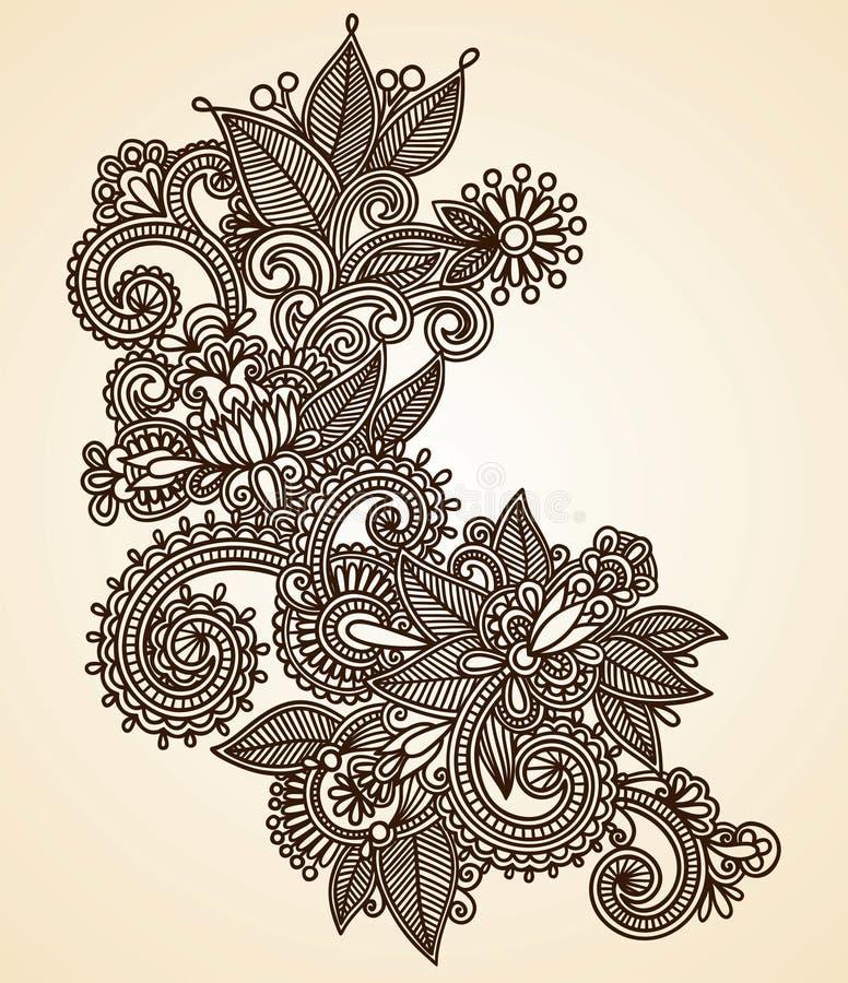 Élément de conception de fower de henné illustration de vecteur