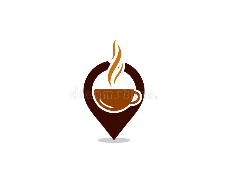 Élément de conception de Pin Location Coffee Icon Logo illustration de vecteur