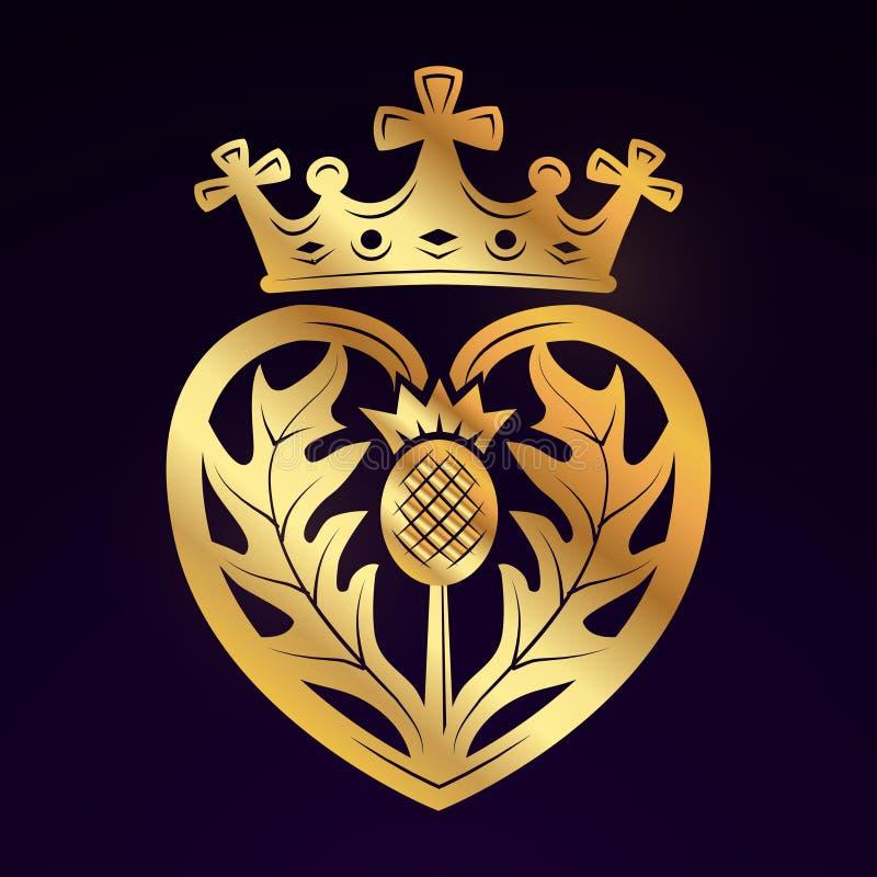 Élément de conception de vecteur de broche de Luckenbooth Forme écossaise de coeur de vintage avec le concept de logo de symbole  illustration libre de droits