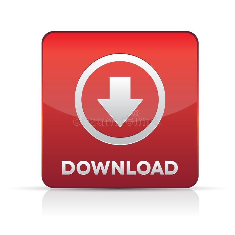 Élément de conception de Web de bouton de téléchargement - rouge illustration de vecteur