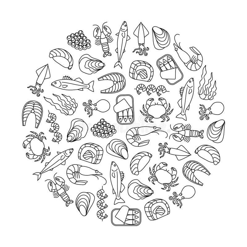 Élément de conception de fruits de mer illustration de vecteur