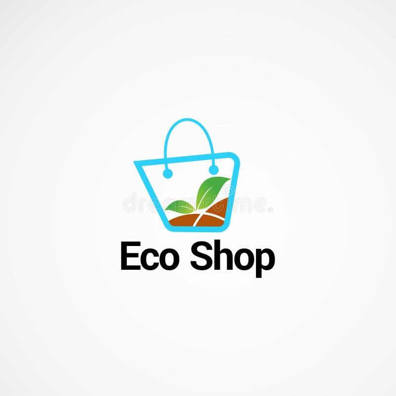 Élément de conceptions de vecteur de logo de magasin d'Eco, et calibre pour la société illustration libre de droits