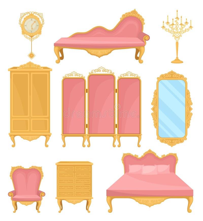 Élément de décor de collection pour le salon Meubles de princesse illustration stock