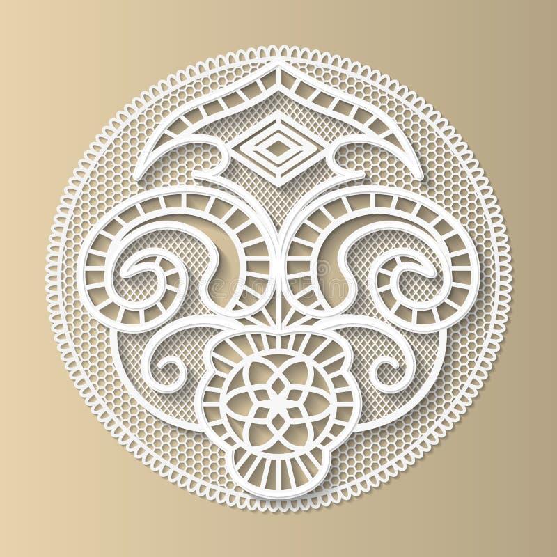Élément de dentelle de conception, le modèle médiéval européen illustration de vecteur