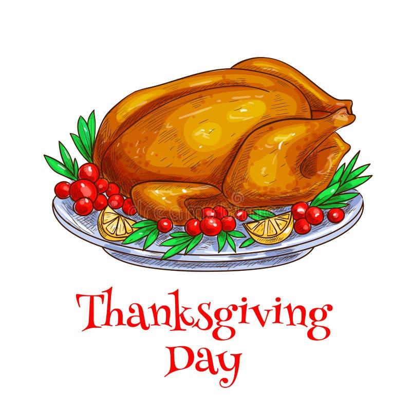 Élément de dinde rôti par dîner de thanksgiving illustration stock