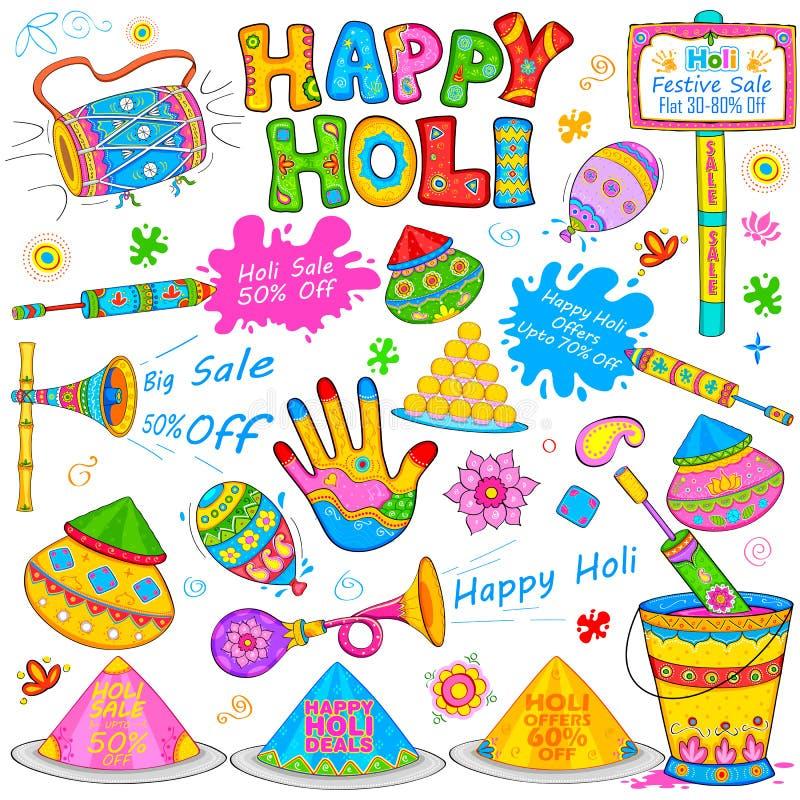 Élément de Holi dans le style indien de kitsch illustration libre de droits