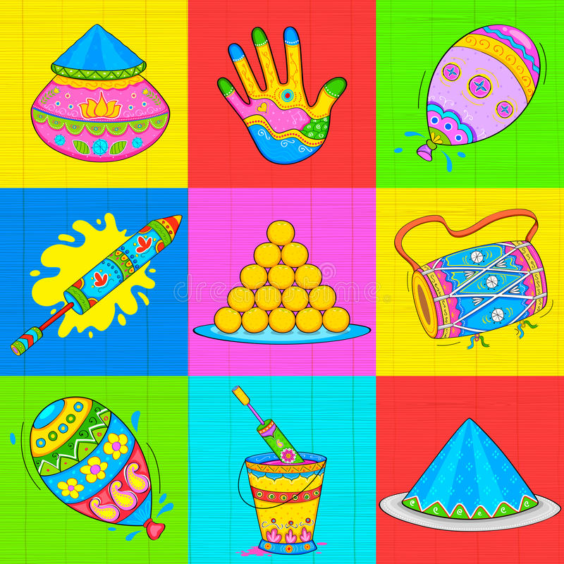 Élément de Holi dans le style indien de kitsch illustration stock