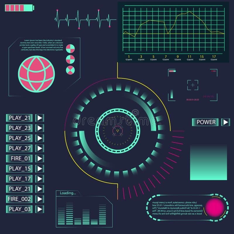 Élément de HUD UI pour l'APP Interface utilisateurs futuriste Interface utilisateurs graphique virtuelle abstraite de contact Élé illustration de vecteur
