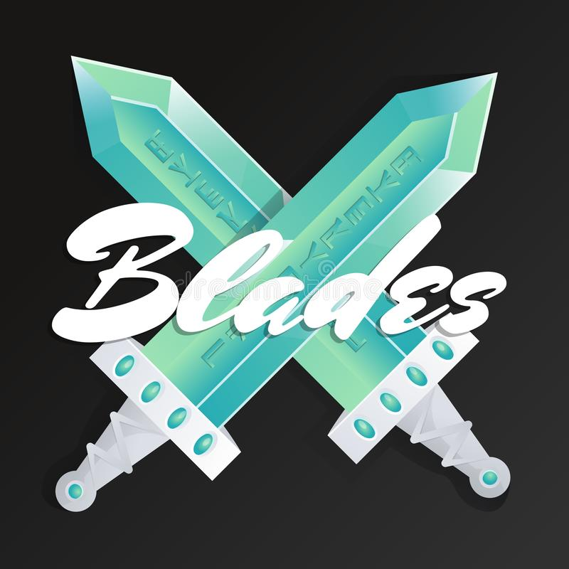 Élément de jeu de lames avec les épées croisées illustration stock