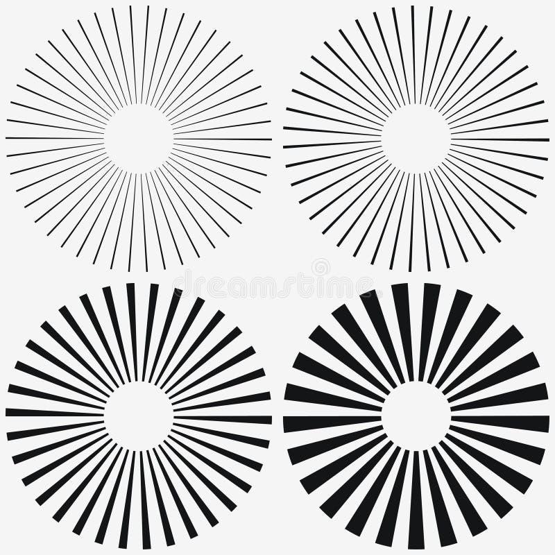 Élément de rayon de soleil Starburst, rayures radiales Ensemble de rayon, faisceau Vecteur illustration de vecteur