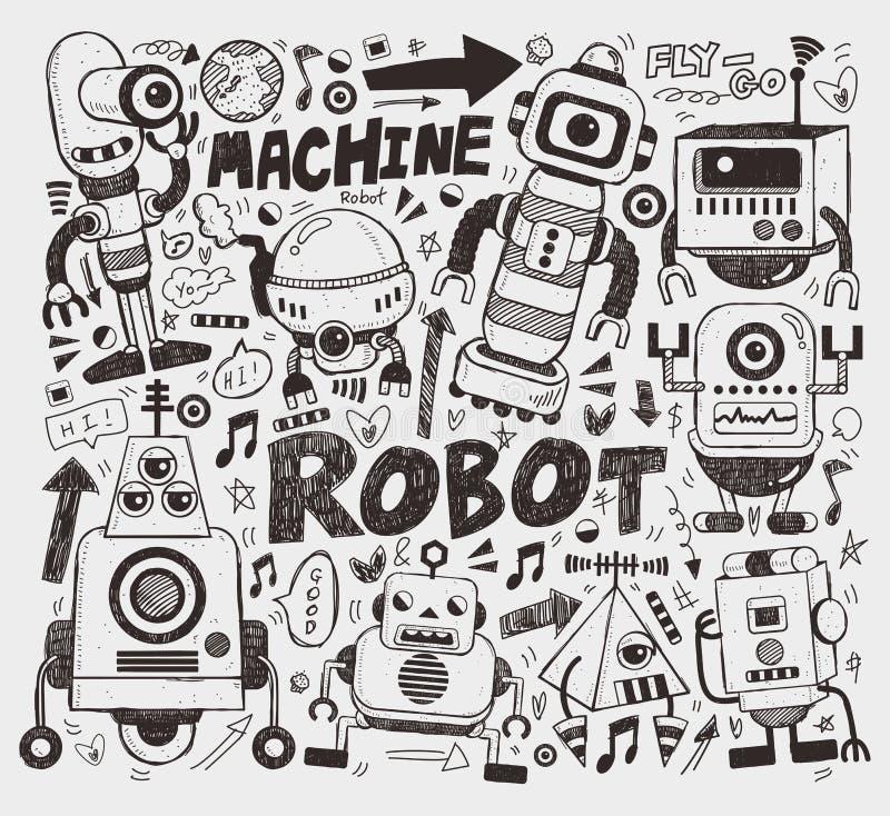 Élément de robot de griffonnage illustration stock