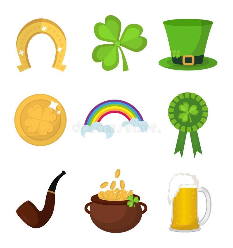 Élément de scénographie d'icône de jour de St Patricks Symboles irlandais traditionnels dans le style plat moderne D'isolement su illustration de vecteur