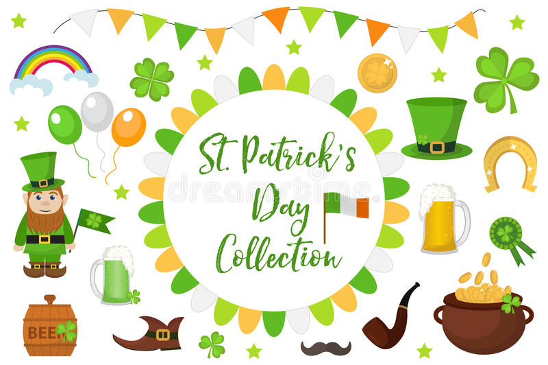 Élément de scénographie d'icône de jour de St Patricks Symboles irlandais traditionnels dans le style plat moderne D'isolement su illustration libre de droits