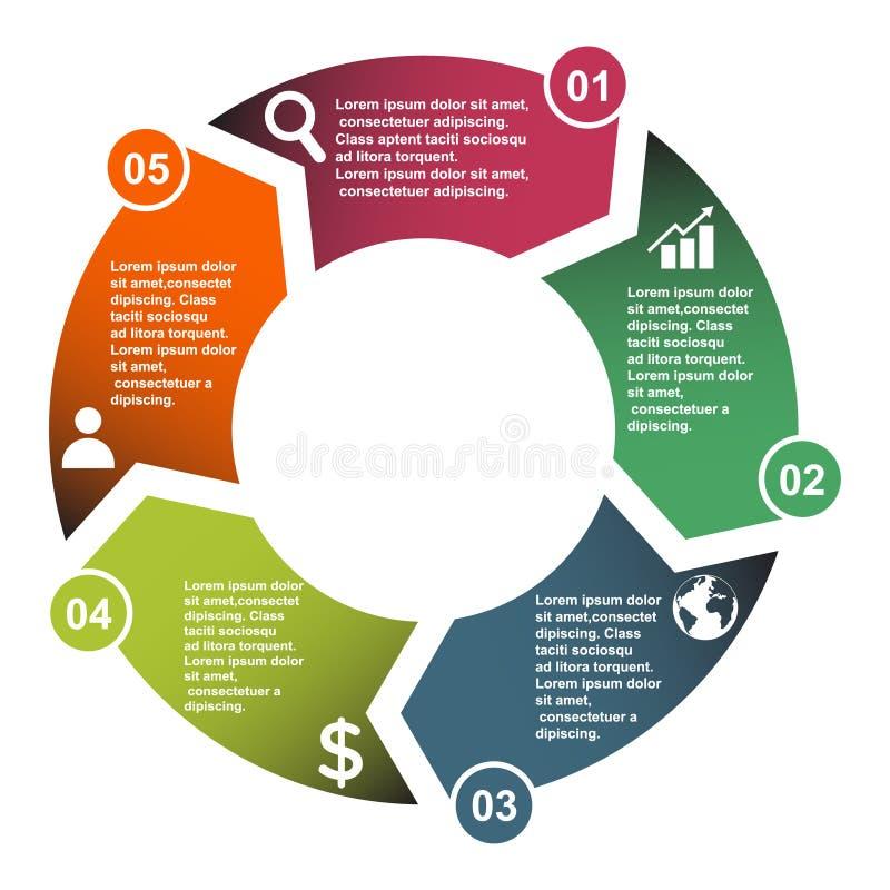 élément de vecteur de 5 étapes dans cinq couleurs avec des labels, diagramme infographic Concept d'affaires de 5 étapes ou option illustration libre de droits