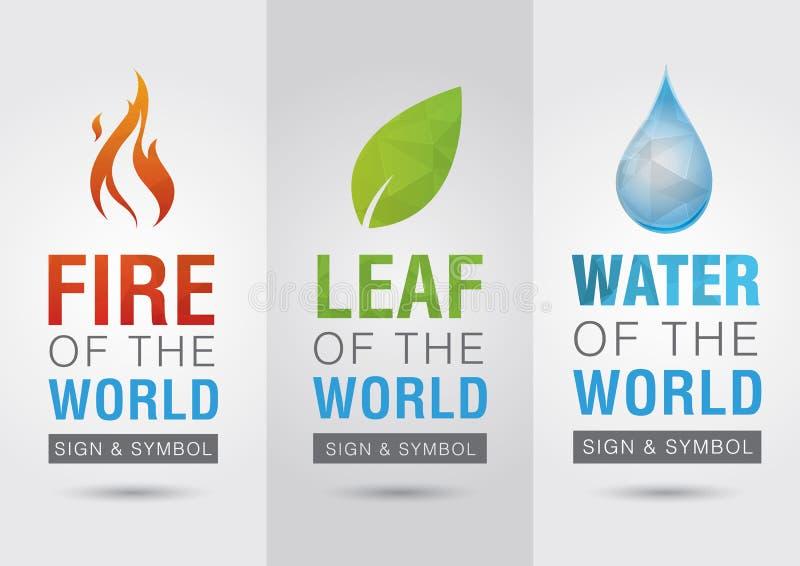 Élément du monde, signe de symbole d'icône de l'eau de feuille du feu créateur illustration de vecteur