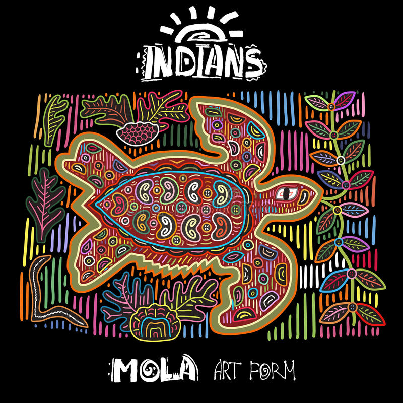 Élément ethnique de conception de vecteur indiens MOLA Art Form Mola Style Turtle Illustration décorative lumineuse d'Ethno photographie stock