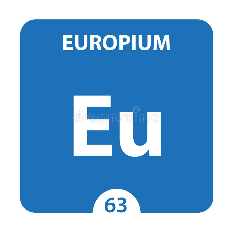 Élément Europium Chemical 63 du tableau périodique Contexte De La Molécule Et De La Communication Europium Chemical Eu, laboratoi illustration libre de droits