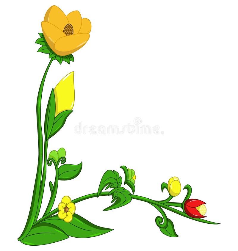 Élément faisant le coin floral décoratif de conception sur le fond blanc illustration stock