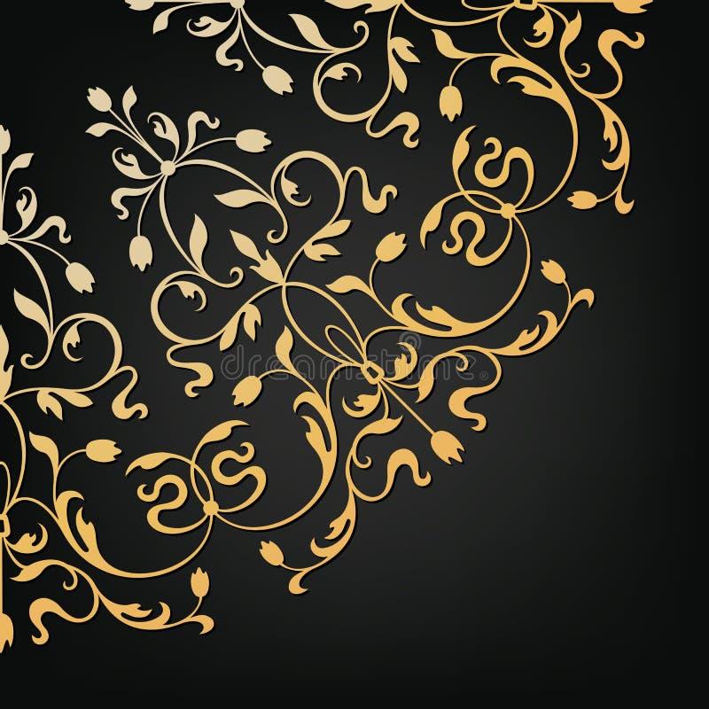 Élément floral ornemental de vecteur Type de cru illustration libre de droits