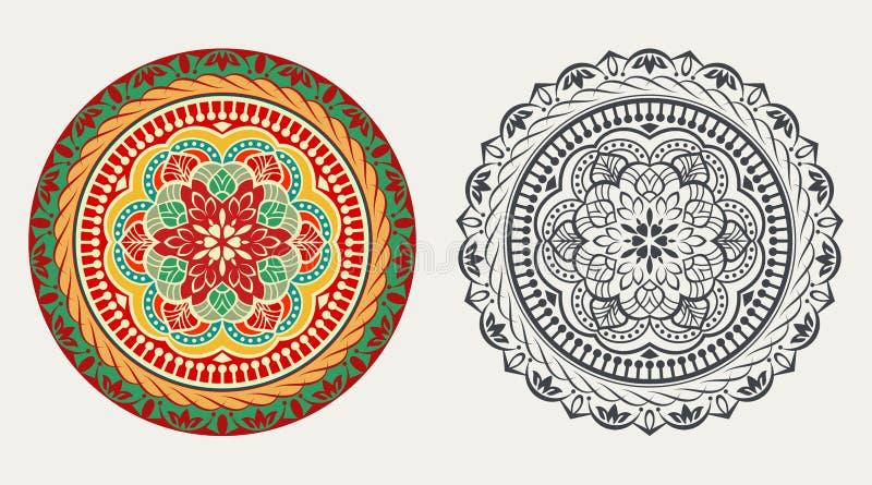 Élément floral rond coloré et noir et blanc illustration libre de droits