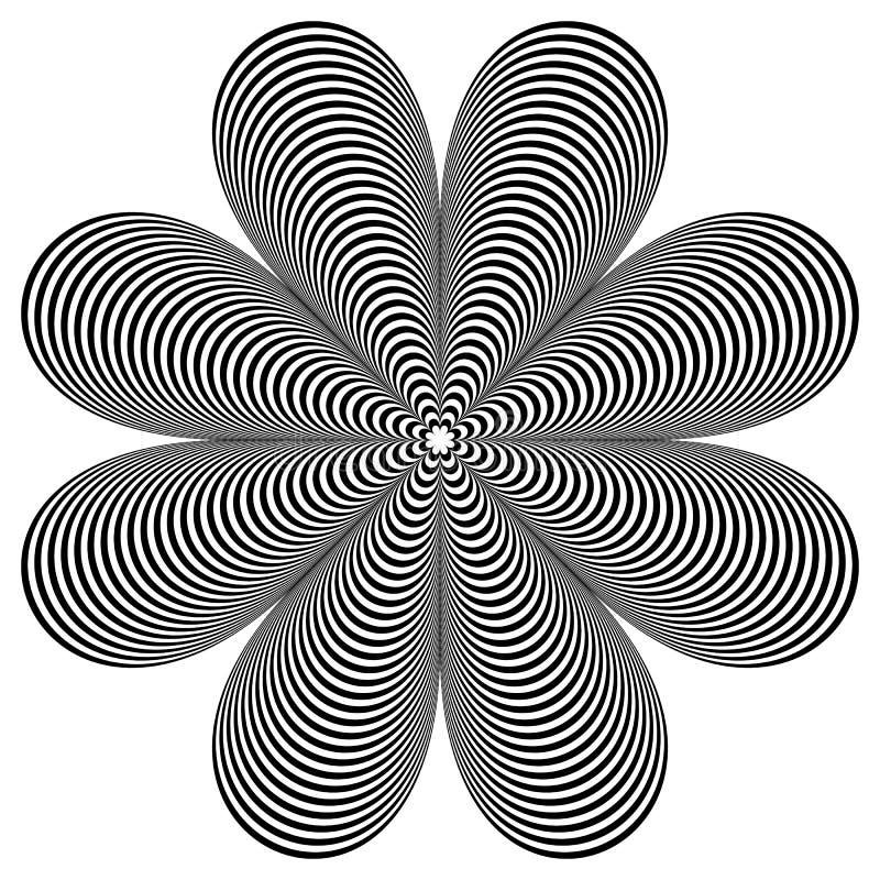 Élément géométrique abstrait Forme tournante des lignes radiales avec illustration de vecteur