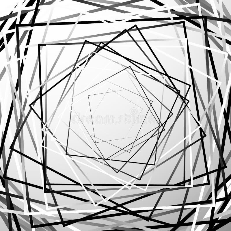 Élément géométrique d'abrégé sur chaotique aléatoire places GE monochrome illustration stock