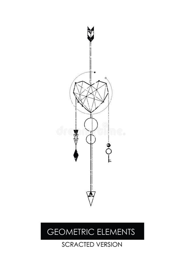 Élément géométrique de haute qualité Version de Scrathed illustration de vecteur