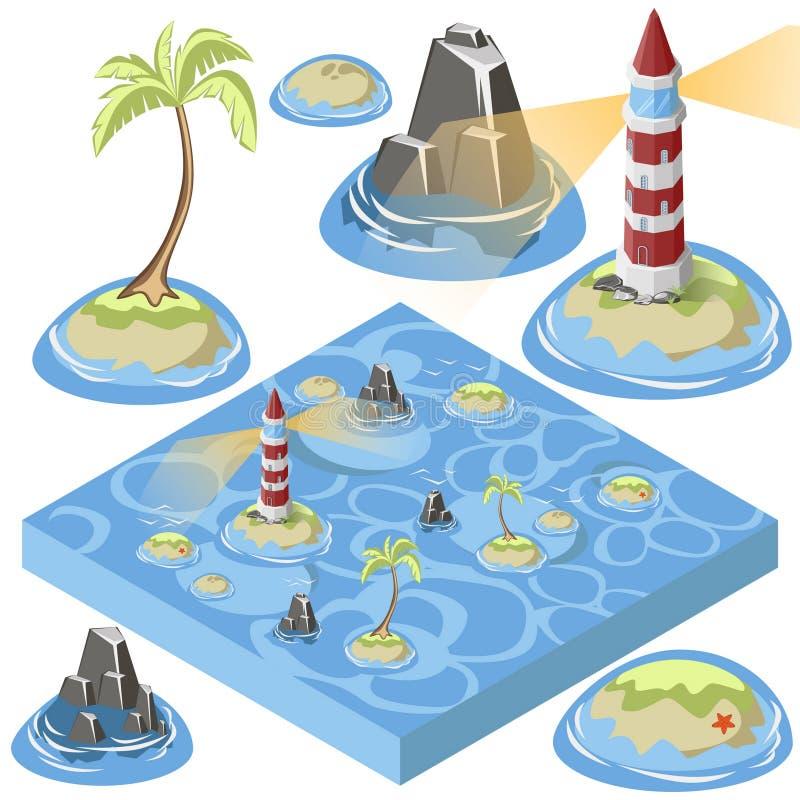 Élément isométrique de mer illustration stock