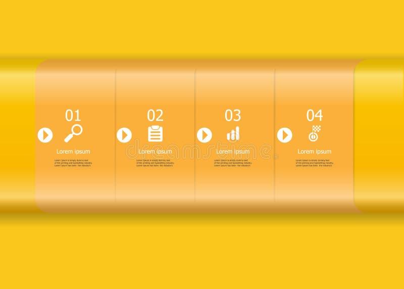 Élément jaune abstrait d'infographics de barre horizontale illustration stock