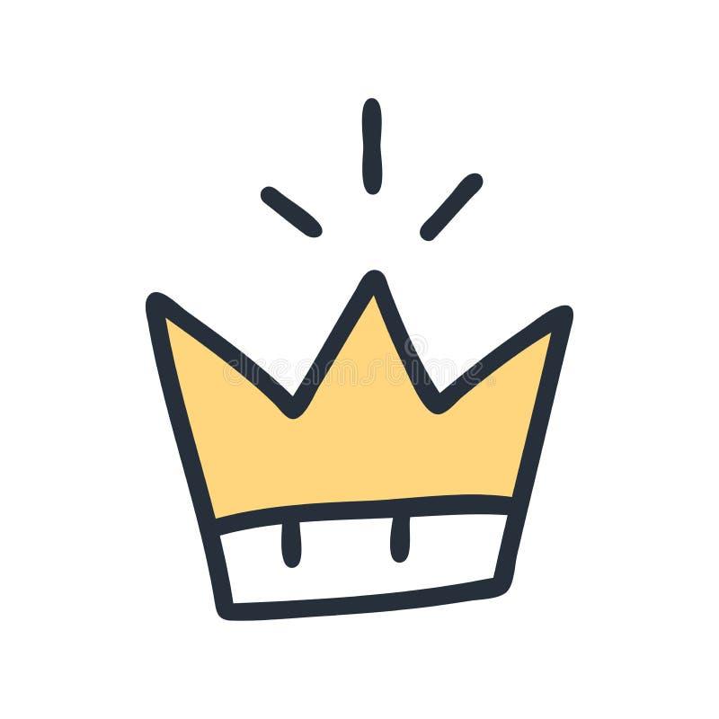 Élément moderniste graphique dessiné à la main couronne royale d'or D'isolement sur le fond blanc Illustration de vecteur Salutat illustration libre de droits