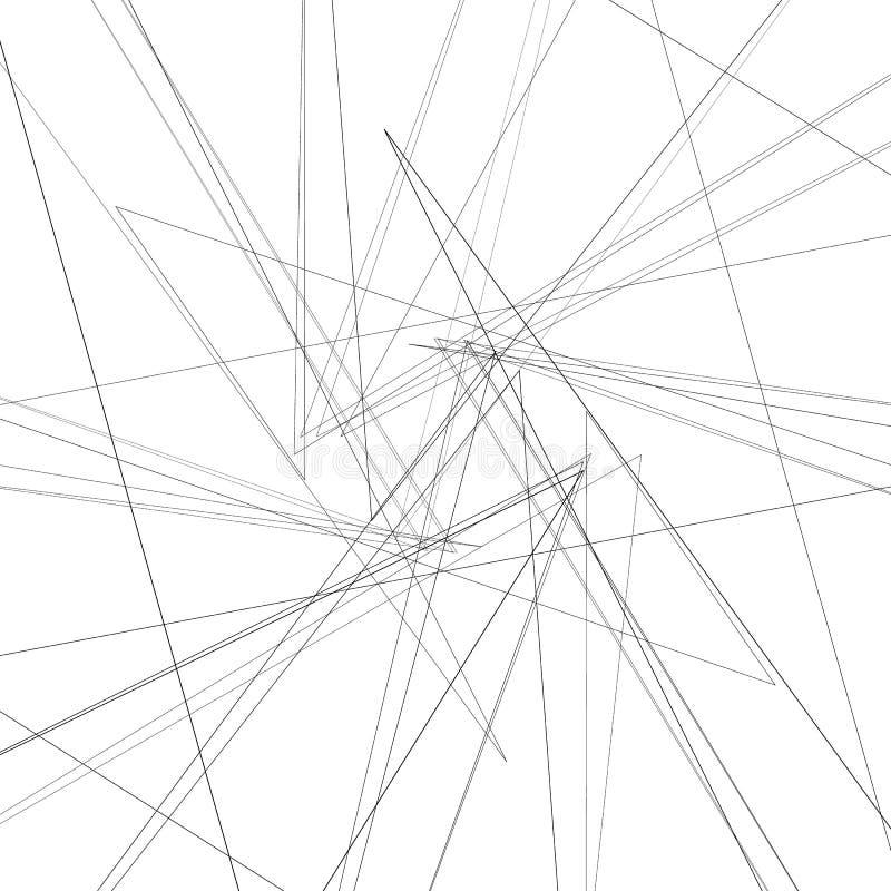 Élément monochrome abstrait avec les lignes de intersection minces illustration de vecteur